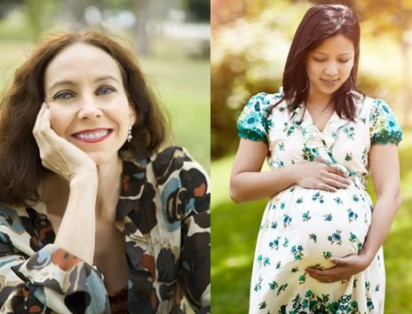 smiling woman and pregnant woman