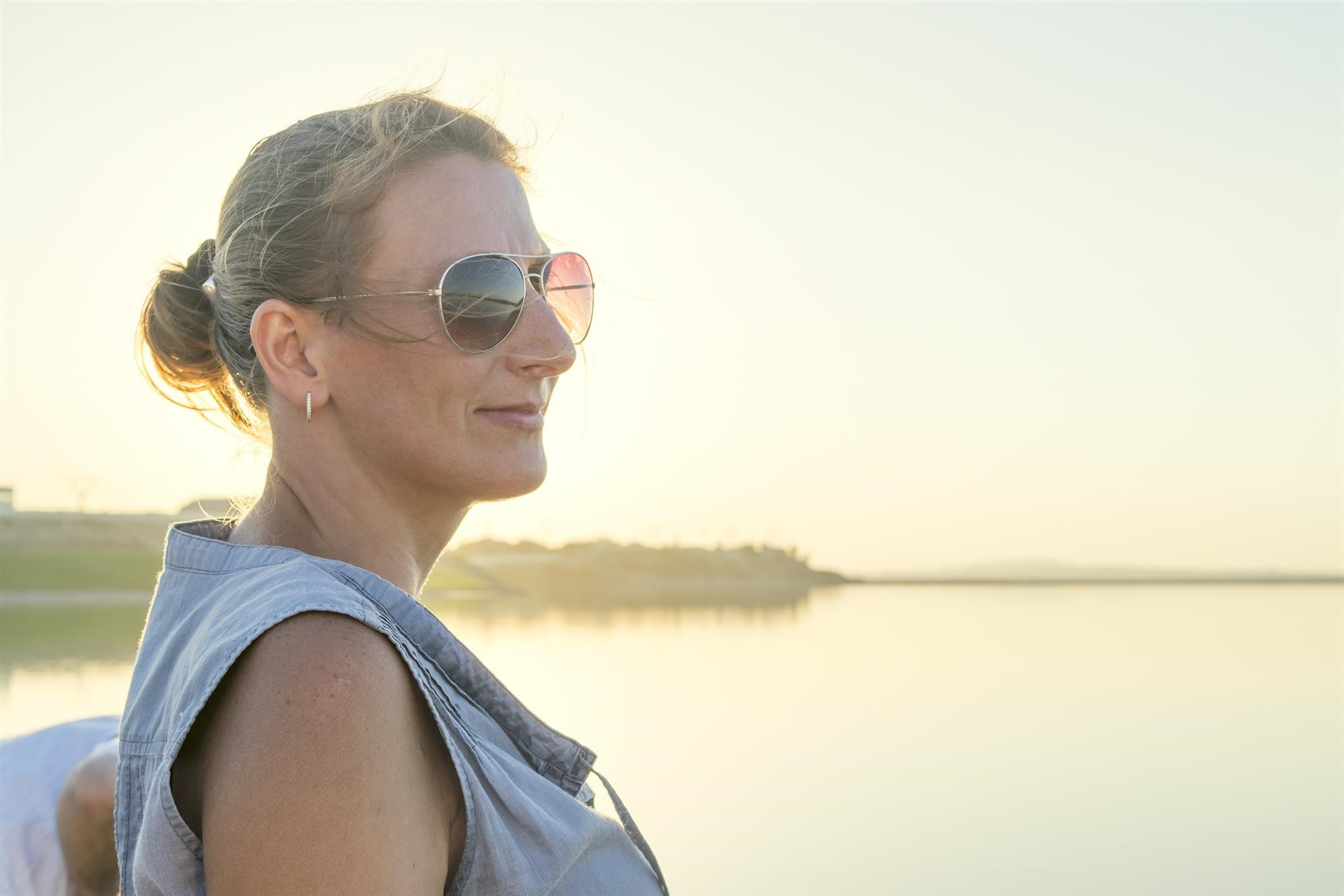 woman smiling at beach