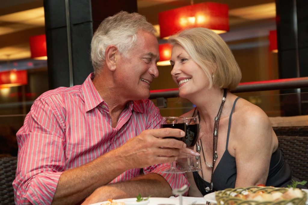 couple enjoys wine together